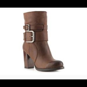 NINE WEST Chana rust brown leather calf boot 8 M